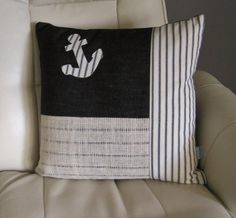 Nautical Pillow Navy Denim and Navy White Cotton by Floatinteriors, $30.00
