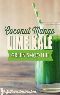 Coconut Mango Lime Kale Green Smoothie by Blender Babes Green Detox Smoothie, Orange Smoothie, Healthy Green Smoothies, Smoothie Blender, Good Smoothies, Healthy Juices, Juice Smoothie, Smoothie Drinks, Healthy Drinks