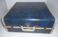 Vintage Luggage Blue Suitcase Samsonite Luggage Mid by rpreserved