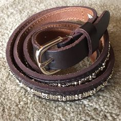 Bead embroidered skinny belt Silver beads. Dark brown. American Eagle Outfitters Accessories Belts