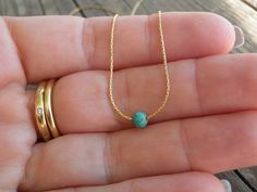 Turquoise Necklace Bridal Tiny Teal Turquoise door AnnalisJewelry
