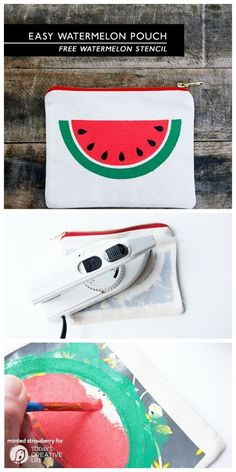 DIY: Easy Watermelon Slice Pouch {free stencil}   This adorable pouch can be made with your Cricut or my hand. Use the provided free stencil to make easy diy gifts, or something for yourself. Minted Strawberry for TodaysCreativeLife.com