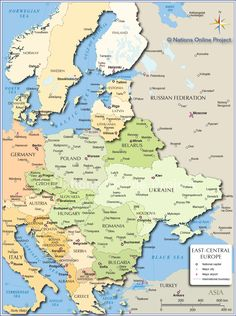 Map of Germany and Austria Europe in 2019
