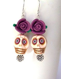 Decorated Howlite Skull Bead Earrings from Mindielee on Etsy. Love these! Captured from happymangobeads!