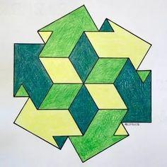 Необычные рисунки из геометрических фигур: 6 тыс изображений найдено в Яндекс.Картинках 3d Quilts, Barn Quilts, Geometric Drawing, Geometric Shapes, Escher Kunst, Optical Illusion Quilts, Sacred Geometry Art, Math Art, Desenho Tattoo