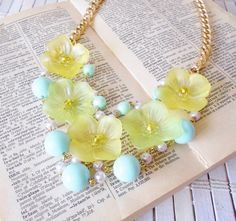 Yellow Flowers Beaded Bib Necklace by RetroRevivalBoutique on Etsy