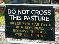 Do Not Cross This Pasture unless you can do it in 9 seconds, because the bull can do it in 10.   Love it!