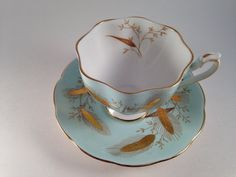 Queen Anne Princess Anne Fine Bone China England Pattern 5492 Unique Tea Cup and Saucer Gold Wheat on Aqua