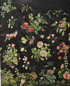 Embroidery by Mary Delaney. Groups of flowers. The pieces shown here are thought to have been parts of a court gown.