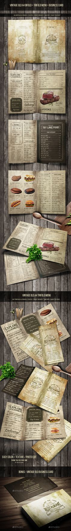 Vintage Old Menu Pack  — PSD Template #drinks menu #retro • Download ➝ https://graphicriver.net/item/vintage-old-menu-pack/18517760?ref=pxcr