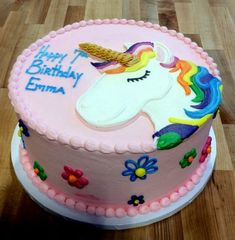 Round Cake With Piped Unicorn Birthday Cakes Flowers Sheet