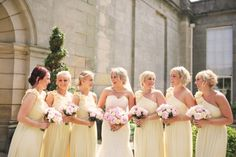 Mori Lee for an oh so pretty wedding at Wynyard Hall. Lemon bridesmaid dresses.    Image by Helen Russell Photography.  Read more: http://bridesupnorth.com/2015/09/30/mori-lee-for-an-oh-so-pretty-wedding-at-wynyard-hall/