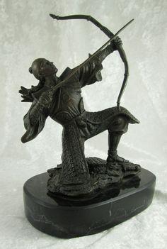 Kamiko Samurai Archer Japanese Bronze Sculpture Marble 9H x6.5W x3.75inD Japan