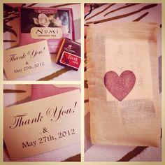 Vintage wedding favor.  Small burlap bag, inside is tea, chocolate and a note.  Elliston Vineyards, Sunol, CA.  #wedding #winery #vineyard