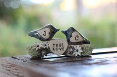 True love  wedding cake topper A pair of ceramic love birds on a branch with your initials in a color of your choice by OrlyDesign http://www.etsy.com/shop/orlydesign?ref=l2-shopheader-name
