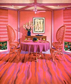 Bright pink, purple stripes, and funky furniture? Yes, please!