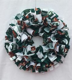 """Rag Fabric Wreath Michigan State University, Football, Green, White 16"""" Wire Frame by cindahandcrafted on Etsy https://www.etsy.com/listing/247575458/rag-fabric-wreath-michigan-state"""