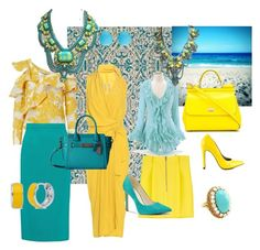 """""""yellow & turquoise 2"""" by mimmiandkinkistatementjewelry ❤ liked on Polyvore featuring BD Fine, self-portrait, Rick Owens, Dsquared2, Roland Mouret, Dolce&Gabbana, Coach, Michael Antonio, Nine West and BERRICLE"""