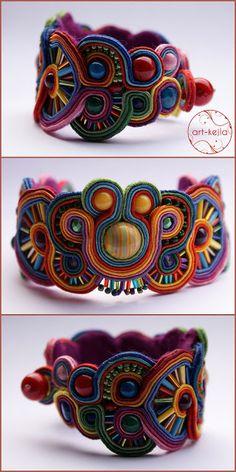 Soutache (sutasz) bracelet (soutache really reminds me a lot of the Huichol Mexican yarn art) awsome! Soutache Bracelet, Soutache Jewelry, Beaded Jewelry, Handmade Jewelry, Jewelry Crafts, Jewelry Art, Jewelry Design, Fashion Jewelry, Jewellery