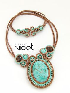 Soutache pendant brown/turquoise inspiration, no tutorial