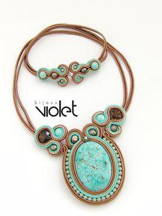 Soutache Earrings Turquiose par Violetbijoux sur Etsy                                                                                                                                                                                 Plus