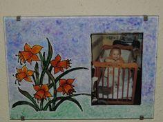 Pintura sobre cristal, foto de mi hijo Nicolás