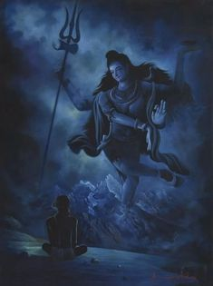 Buy Blue oil Painting by artist Kamal Rao on Canvas, Religious based on theme Realism. Size is 36 × 48 × 0 in. Shipping is from India. Authenticity certificate will be provided for original artworks. Arte Shiva, Shiva Tandav, Rudra Shiva, Shiva Art, Lord Shiva Statue, Lord Shiva Pics, Lord Shiva Family, Lord Shiva Sketch, Love Wallpapers Romantic