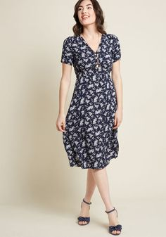 fbfc202849 Louche Teatime Toast Midi Shirt Dress in Navy Floral - You ll look so  marvelous