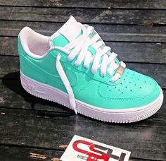 Custom Mint green/White Nike Air Force 1s
