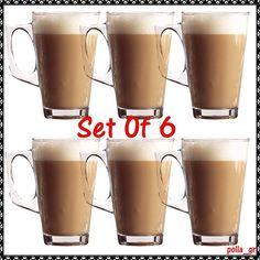 Latte Coffee Glasses Set Of 6 Cappuccino Chocolate Hot Drinks Tea Mugs Kitchen Coffee Glasses, Coffee Latte, Tea Mugs, Drinking Tea, Essentials, Chocolate, Drinks, Tableware, Hot