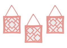 Modern White and Coral Diamond Geometric Girls Wall Hanging Accessories. Set of 3 Plush Wall hangings Measuring 10in. x 10in. each. Each wall hanging has ties that you can hang on a hook or nail. The plush handcrafted wall art hangings are great to add style to any nursery or child's bedroom. This design has matching accessories such as hampers, lamp shades, window treatments and wall decor, coordinating sheets, border, wall decals, shower curtains, mobiles, changing pads and pillows cases.
