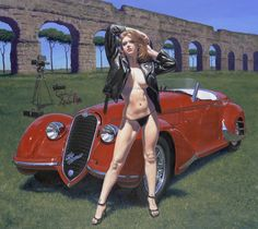 Vintage Classic Cars and Girls: Pin Up Girls and Cars by Greg Hildebrandt