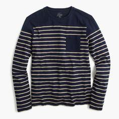 Nautical engineered-stripe long-sleeve T-shirt in cotton