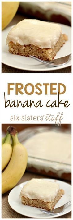 "Frosted Banana Cake from SixSistersStuff.com | Some say that this is the ""Best Ever Banana Cake"" . . . but we will let you be the judge! Serve this for a delicious dessert!"
