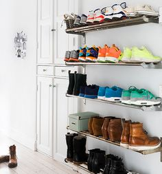 Click Pic for 14 DIY Shoe Organizer Ideas   Industrial Style Shelving   DIY Shoe Storage Ideas