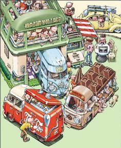 [Toyama] REVEL cronograma dezembro | restauração móvel [Toyama Blog] Volkswagen Type 2, Vw T1, Toyama, Combi T2, Retro Cartoons, Car Illustration, Small Cars, Illustrations And Posters, Muscle Cars