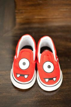 Easily paint shoes for monster birthday party! - Kara's Party Ideas - The Place for All Things Party karaspartyideas.com #monster #party #ideas  I love these! Could be used in Yo GABA GABA party!!!