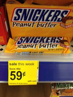 Walgreens: Snickers Peanut Butter Squared Bars only $.22