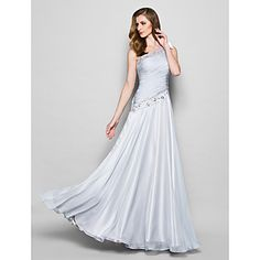 A-line Plus Sizes / Petite Mother of the Bride Dress - Silver Floor-length Sleeveless Chiffon – USD $ 119.99