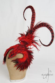 The Firebird - by Alwa Petroni, love fun headpieces.guess that's where the British in me comes through. Headdress, Headpiece, Still I Rise, Red Feather, All Craft, Animal Fashion, Firebird, Shades Of Red, Cool Costumes
