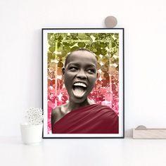 Woman Africa Happiness - Mixed media collage, Photo, vintage , retro, decor, print , poster, wall , interior design, elegant -