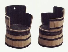 Wiskey barrel chairs - and adding some home-made cushions, just lovely.