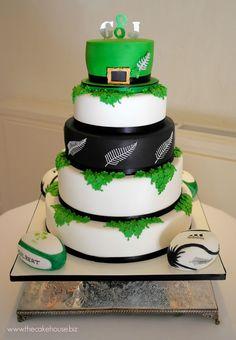New Zealand/Ireland Rugby Wedding Cake