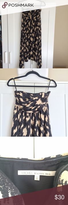rachel roy strapless black & tan silky print dress NWOT amazing abstract patterned/print dress by rachel roy. tan & black allover neutral print (it's kind of an abstract / large scale, toned-down cheetah print). floaty hi-low hem. feminine gathered sweetheart bust. strapless. interior hanging loops. invisible zipper. fitted & structured at bust & a little looser @ waist, but not voluminous. perfect for a wedding attendee, party, cocktail dress, prom/homecoming, travel/resort layering up w/ a…