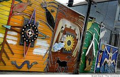 "In Balmy Alley off 24th Street is the interesting ""Five Sacred Colors of Corn"" by Susan Cervantes and Mia Gonzalez. Photo: Brant Ward, The C..."