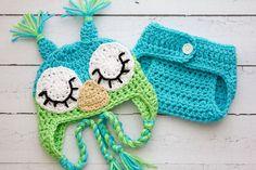 Crochet Newborn baby boy Sleepy owl hat and diaper cover set photography prop infant boy hat and diaper cover photo prop crochet baby hat