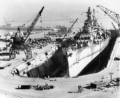 1945 Uss Iowa Docked at Hunters Pt Naval Shipyard, San Francisco