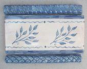 """Handmade Ceramic Border Tile -- 3""""x6"""" Handpainted Sprigs Leaf  Border Tiles"""