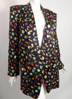 vintage Foodie Theme Novelty Print Silk Jacket by DorotheasCloset, $40.00