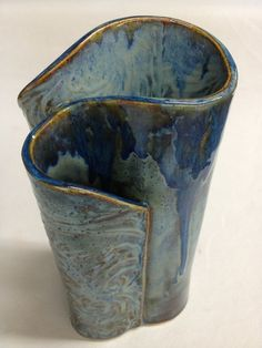 hand built clay projects   ... Pottery Wave Vase with 3 openings for fresh flowers, custom made with